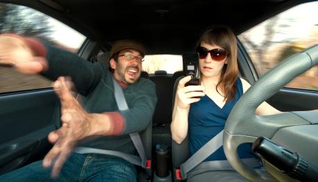 Distracted Driver Just Before Car Crash