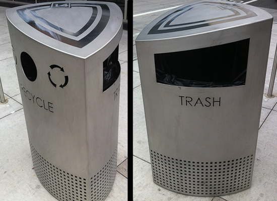 Two Sided Trashcans