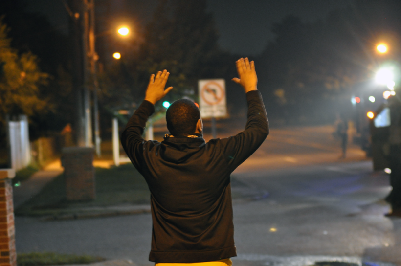Man with Hands Up in Ferguson