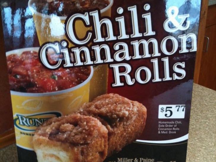 Runza's Chili and Cinnamon Rolls