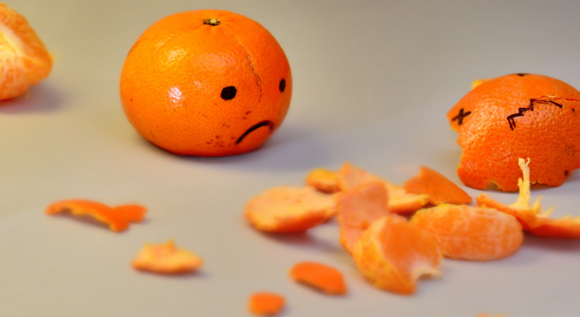A little orange frowns at a dead orange in pieces