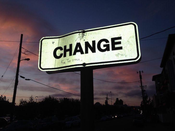 The Word Change Written on a Billboard